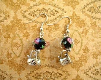 Black Rose Tea Cup Earrings, Pink Roses, Rose Black Beads, Tea Cup Pendants, Earrings, Glass Earrings