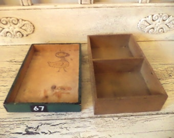 Set of 2 Vintage Wooden Trays - Wood Drawers - Rustic Storage