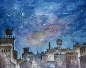 Fine Art Print of Watercolor Landscape Painting, cityscape, night stars, urban night sky, Brooklyn, New York City, watercolor art.