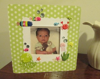3.5 x 3.5 Sea Life Themed - Hand Decorated Picture Frame