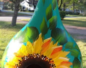 Sunflower gourd birdhouse, hand painted gourd house, gourd birdhouse