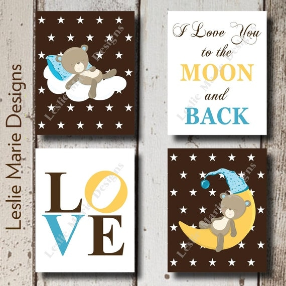 wall art wall decor i love you to the moon and back moon. Black Bedroom Furniture Sets. Home Design Ideas
