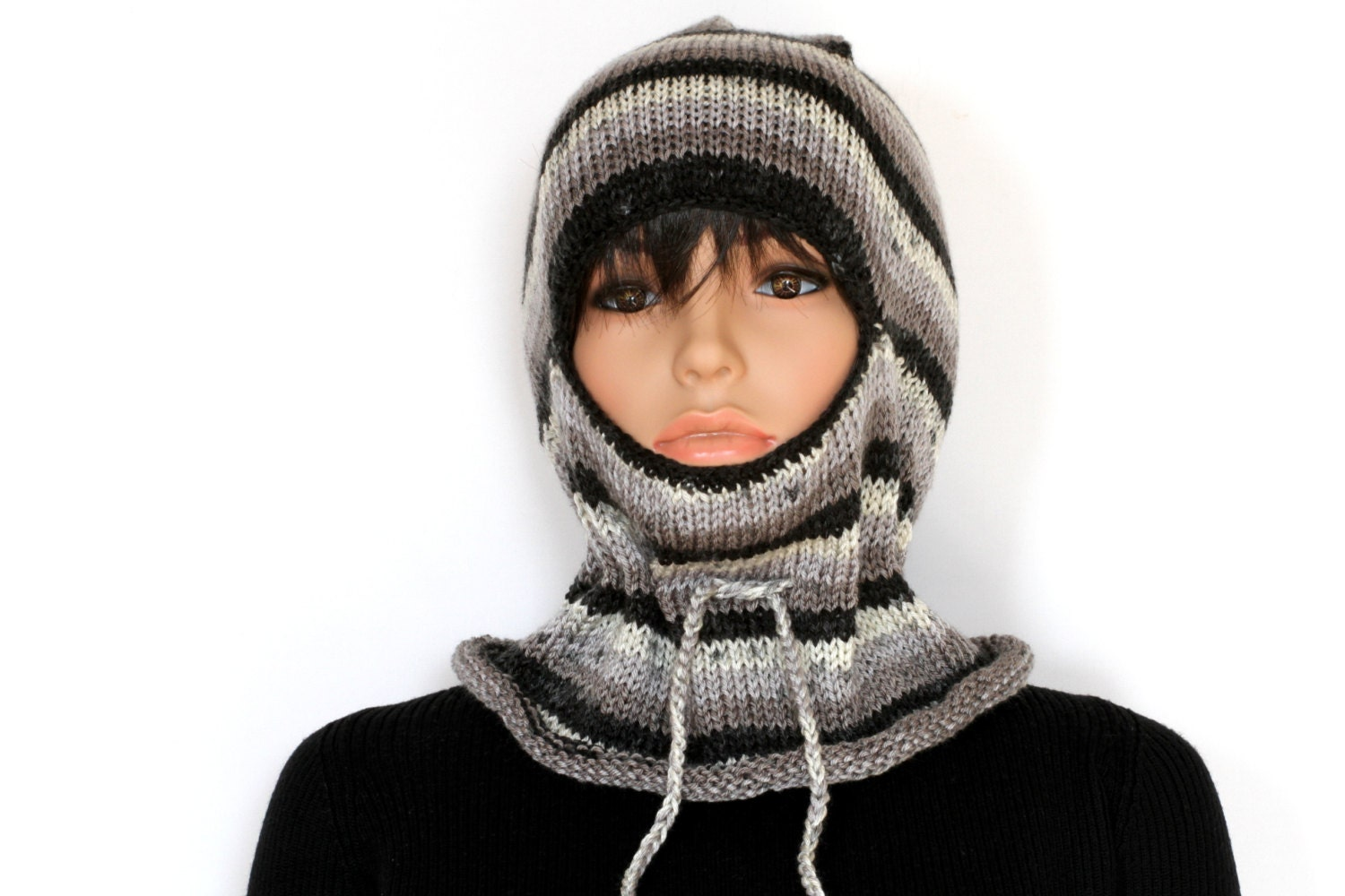 Ladies Balaclava Knitting Pattern : Black gray Knitted balaclava Ski Mask Winter Balaclava Mask