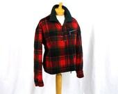 60s Wool Pullover Jacket * Red and Green Plaid Jacket * Wool Fleece Jacket * Hunting Coat * Boho Jacket
