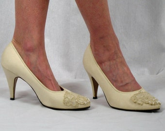 60s Wedding Heels * Cream Shoes with Pearl Beads * Ivory Wedding Shoes * Fabric Wedding Shoes * Citations