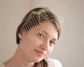 Birdcage Veil - Gold Mini Veil - Bridal Blusher Veil - Wedding Veil - Shiny Metallic - Wedding Modern - Bridesmaids Gift