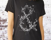 Women's Vintage Relaxed Fit Tee - Distressed - Ampersand Made From Tree Branches - Alternative Apparel - All Sizes Available