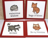 Valentine's Day Cards for Kids, Kids Valentines, Classroom Valentines, Mini Critter Cards, Set of 18