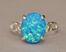 RARE Denim Marine Blue Opal Ring,Genuine Opal Ring,Sterling Silver Opal Ring,Birthstone,Opal Jewelry,Lab Created Synthetic Opal