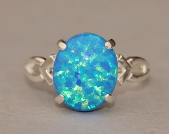 RARE Denim Marine Blue Opal Ring,Genuine Opal Ring,Sterling Silver Opal Ring,Birthstone,Opal Jewelry,Lab Created Synthetic Opal