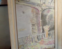 LE DOLCE VITA, original Art, drawing,  framed, ready to hang, home decor