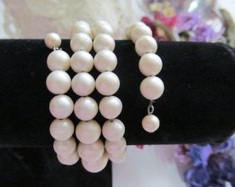 Vintage Beaded Wrap Bracelet Faux Pearl Beads