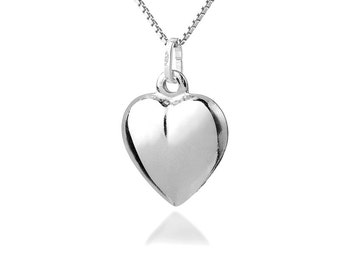 Sterling Silver Heart Necklace, Heart Shaped pendant necklace 925 valentines jewelry