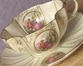 Vintage Fragonard teacup and saucer, Lefton teacup, Porcelain tea cup, Japanese teacup, French teacup, Courting scene teacup Valentine's day