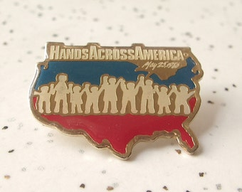 Vintage Hands Across America pin, 1986, USA pin, red white and blue pin, USA collectible, 1980's jewelry