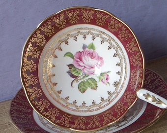 Vintage 2nd Wedding anniversary gift, Royal Stafford pink rose tea cup and saucer, red tea cup, English bone china tea cup, red gold tea cup