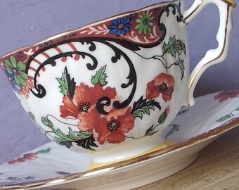 Antique 1930's Art Nouveau china teacup, Aynsley poppies tea cup and saucer English teacup Red black white bone china tea cup Antique teacup