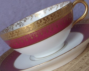 Antique Wm Geurin Limoges France teacup and saucer, Red and gold tea cup, French china tea cup, Porcelain tea cup, Wedding gift for bride