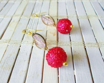 Red Beaded Berry Drop Earrings, Gold Caged Crystals, Pierced Dangle, Vintage Style
