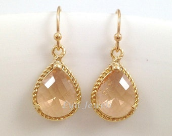 Champagne Pink Earrings - Peachy Gold Earrings Glass Teardrops Bridesmaids Earrings Matching Necklace Available