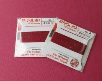 Natural Silk Cord With Needle - 2 packs - Size 4 - Garnet