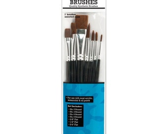Artist Brush Set of 7 Assorted Sizes Synthetic Artist Paint Brushes by Ranger - Use with Acrylic, Oil & Watercolor Paints (147102)