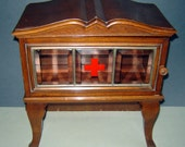 aNTIQUE APOTHECARY MEDICAL mEDICINE CABINET Wood faceted crystal glass Red Cross