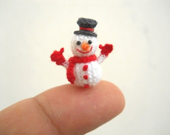 Micro Amigurumi Snowman - Miniature Crochet Tiny doll - Made To Order