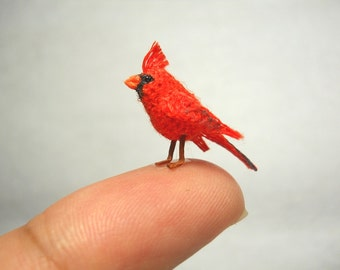 Cardinal in a Snowy Branch - Micro Amigurumi Miniature Crochet Bird Stuffed Animal - Made To Order