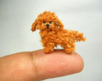 Toy Poodle Puppy - Tiny Crochet Miniature Dog Stuffed Animals - Made To Order