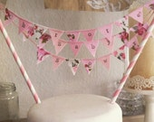Three strings: Baby Shower Christening Cake Topper Bunting personalized, any colour