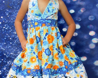 "Girls Dress "" Wing Song Lapel Collar Criss-Cross Back"" Childrens 2t, 3t, 4t, 5, 6, 7, 8"