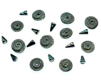 A Collection of Metallic Sparkle Charcoal Polymer Clay Ammonite and Czech Glass Baby Spike Components