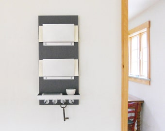 JOULE: Double Mail Organizer with Shelf for Electronics, Glasses, Personal Items. Shelf Detailed with Metal.  Customization Available!