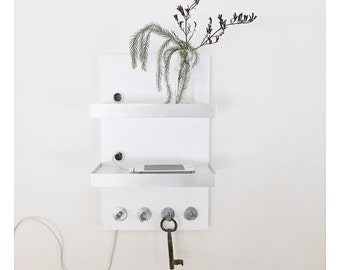 IPHONE DOCKING STATION: Modern Wooden Wall Mount Unit with Hooks and Metal Details for Home, Office or Dorm.