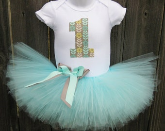 Aqua and Grey First Birthday Tutu Outfit and Headband | Aqua and Grey Number or Initial | Birthday Photo Prop, Party Dress
