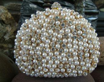 Pearl rhinestone beaded evening bag