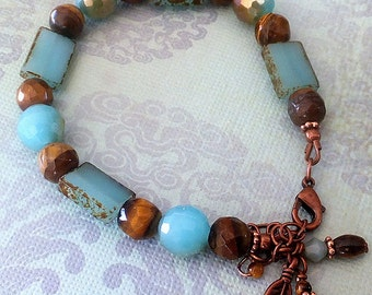 Turquoise Glass Bead Bracelet, Copper Bead Bracelet, Brown Cats Eye Beads, Southwest Bracelet, FREE US SHIPPING
