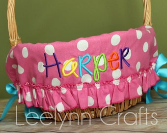 Personalized Easter Basket Liner - Pink Polka Dot Ruffled - Personalized with Name - Custom Basket Liner