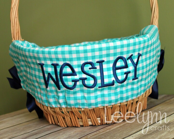 Personalized Easter Basket Liner Turquoise Gingham Plaid