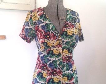 Esprit Floral Vintage Maxi Dress 90s Printed