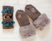 Christmas Gift Knit Winter Accessories Brown Snowflake Mittens Headband