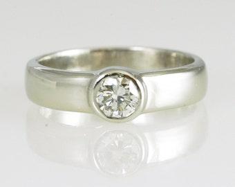 Diamond Ring/ Platinum Bezel Set Diamond Band