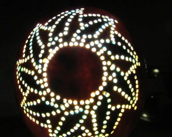 Gourd Art Baha'i Nine Pointed Star Night Light with Cool LED Lumination