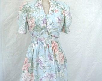 80s PASTEL DRESS SET vintage floral sundress + cropped jacket M