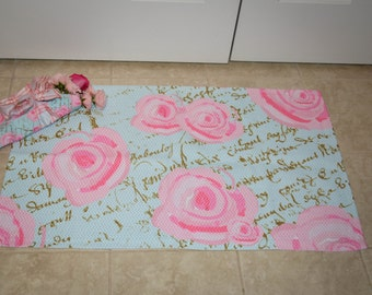 Rug, Shabby Chic Roses on Paris Blue with French script