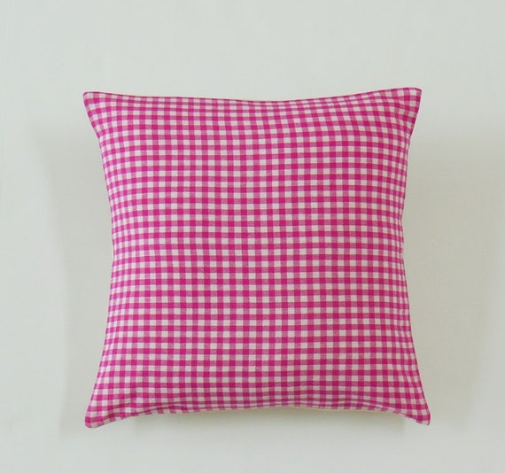 Items similar to Pink Throw Pillows, Gingham Check Pillow Covers, Decorative Pillows on Etsy