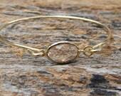 Gold Bangle Bracelet / Peach Champagne Bracelet / Bridesmaid Gift / Bridesmaid Jewelry / Bridesmaid Bracelet / Gift  For Her