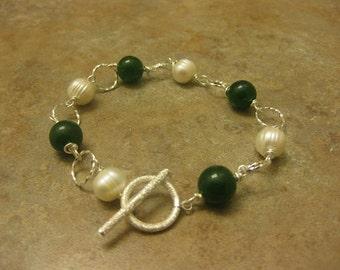 pearl bracelet, jade bracelet, wire wrapped jewelry, pearl jewelry, jade jewelry, sterling silver jewelry