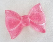 1pc - Rose Pink Glitter XL Bow Decoden Cabochon (60x43mm) BL10011